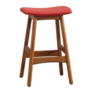 Gafford Contemporary Leather Upholstered Wooden Bar Stool