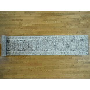 One-of-a-Kind Best Undyed Hand-Knotted Runner 2'6 x 17' Wool Gray/White Area Rug Isabelline