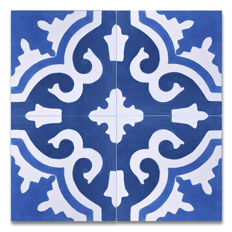 Tanger 8 X Handmade Cement Tile In Blue