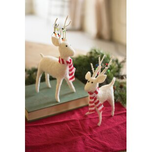 2 piece deer with scarves and christmas lights set - Christmas Deer Decorations Indoor
