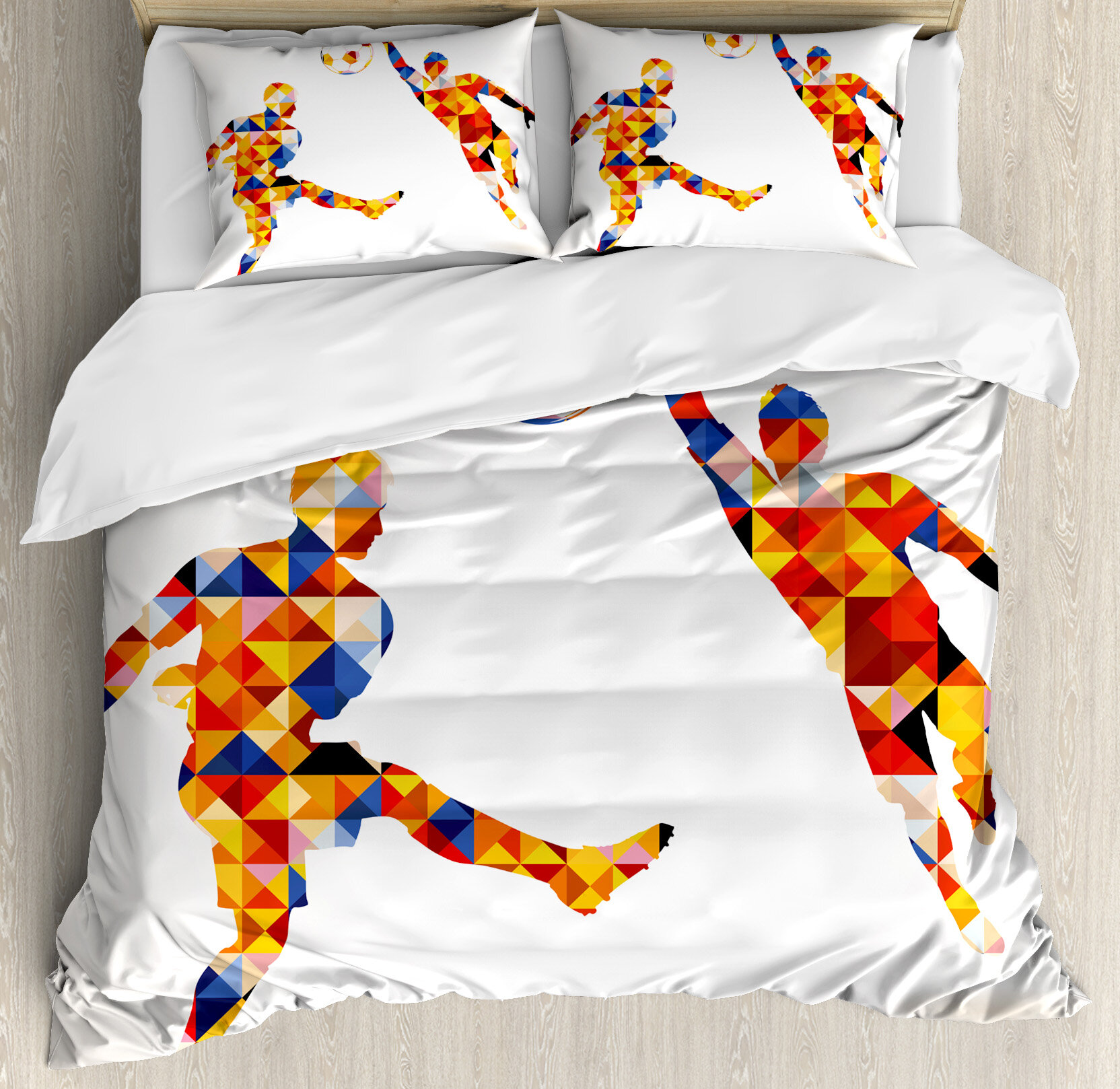 East Urban Home Sports Abstract With Football Soccer Players In - Geometrical-shapes-on-bedding