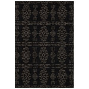 Daria Hand-Woven Wool Black/Beige Area Rug