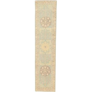 One Of A Kind Wareham Hand Knotted Runner 3 X 12 9 Wool Beige Area Rug