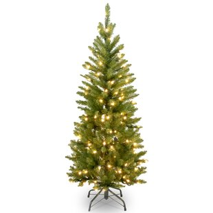 4.5u0027 Pencil Fir Artificial Christmas Tree With 150 Clear Incandescent Lights