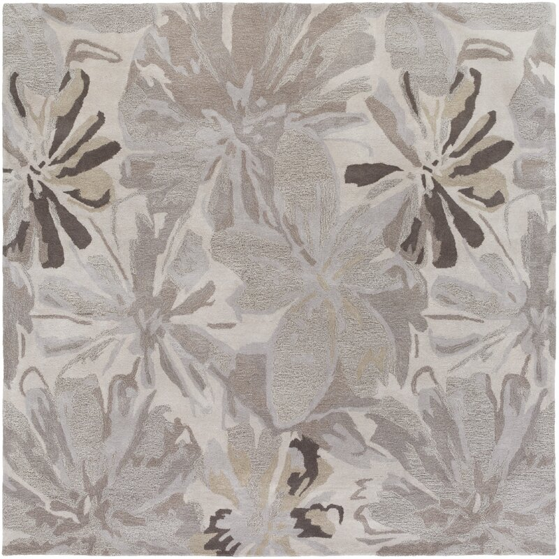 Alcott Hill Amice Hand-Tufted Wool Beige/Gray Area Rug, Size: Square 4