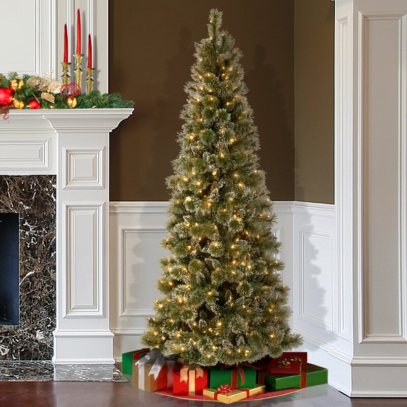 Darby Home Co Pine 75' Green Slim Artificial Christmas Tree With