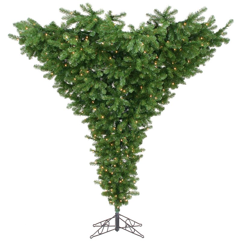 Upside Down 7.5u0027 Green Artificial Christmas Tree With 650 Dura Lit Clear  Lights With