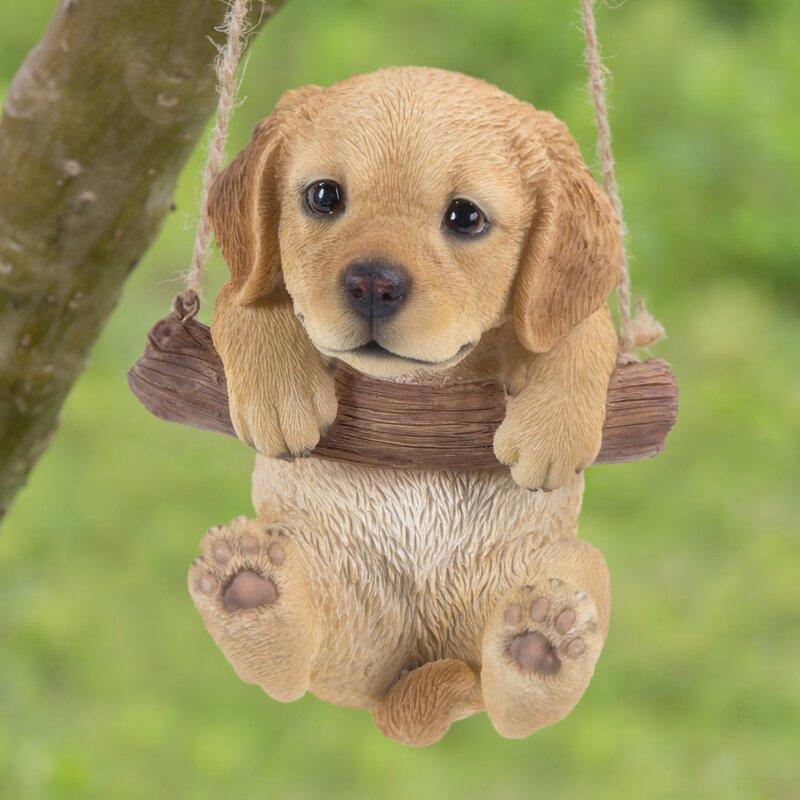 Hi-Line Gift Ltd. Hanging Golden Retriever Puppy Statue ...