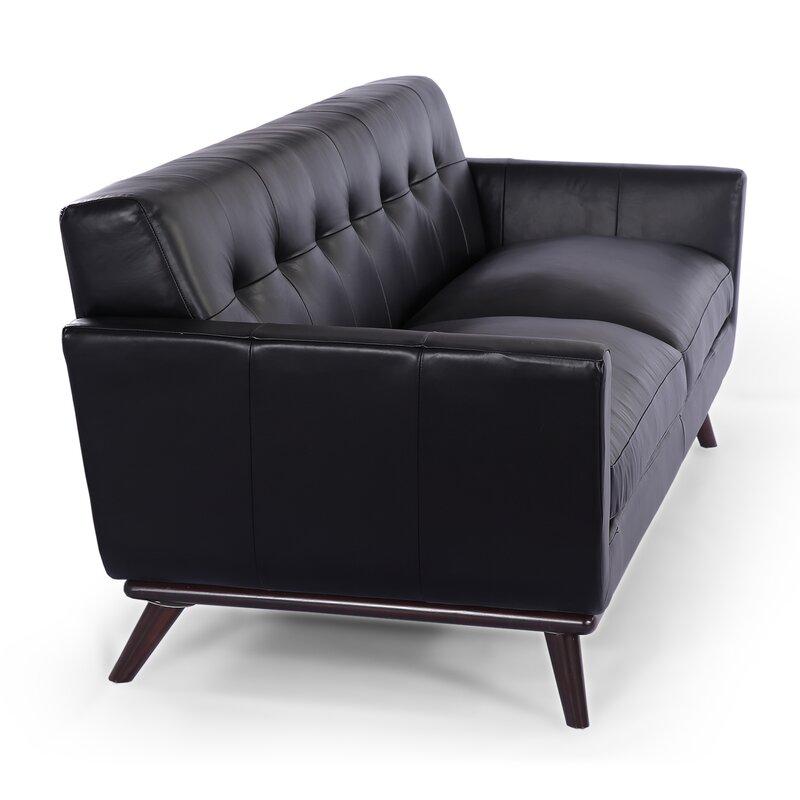 Corrigan Studio Luther Mid Century Modern Vintage Leather Sofa ...