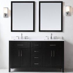 """Bathroom Vanities Black ove decors tahoe 60"""" double bathroom vanity set with mirror in"""