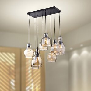 Mariana Cognac Glass 8 Light Cascade Pendant