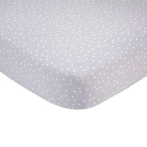 Grey Stars Sateen Crib Fitted Sheet