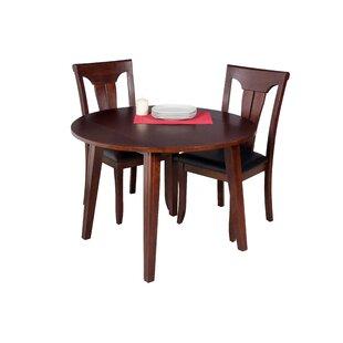 Dinh Modern 3 Piece Drop Leaf Solid Wood Dining Set