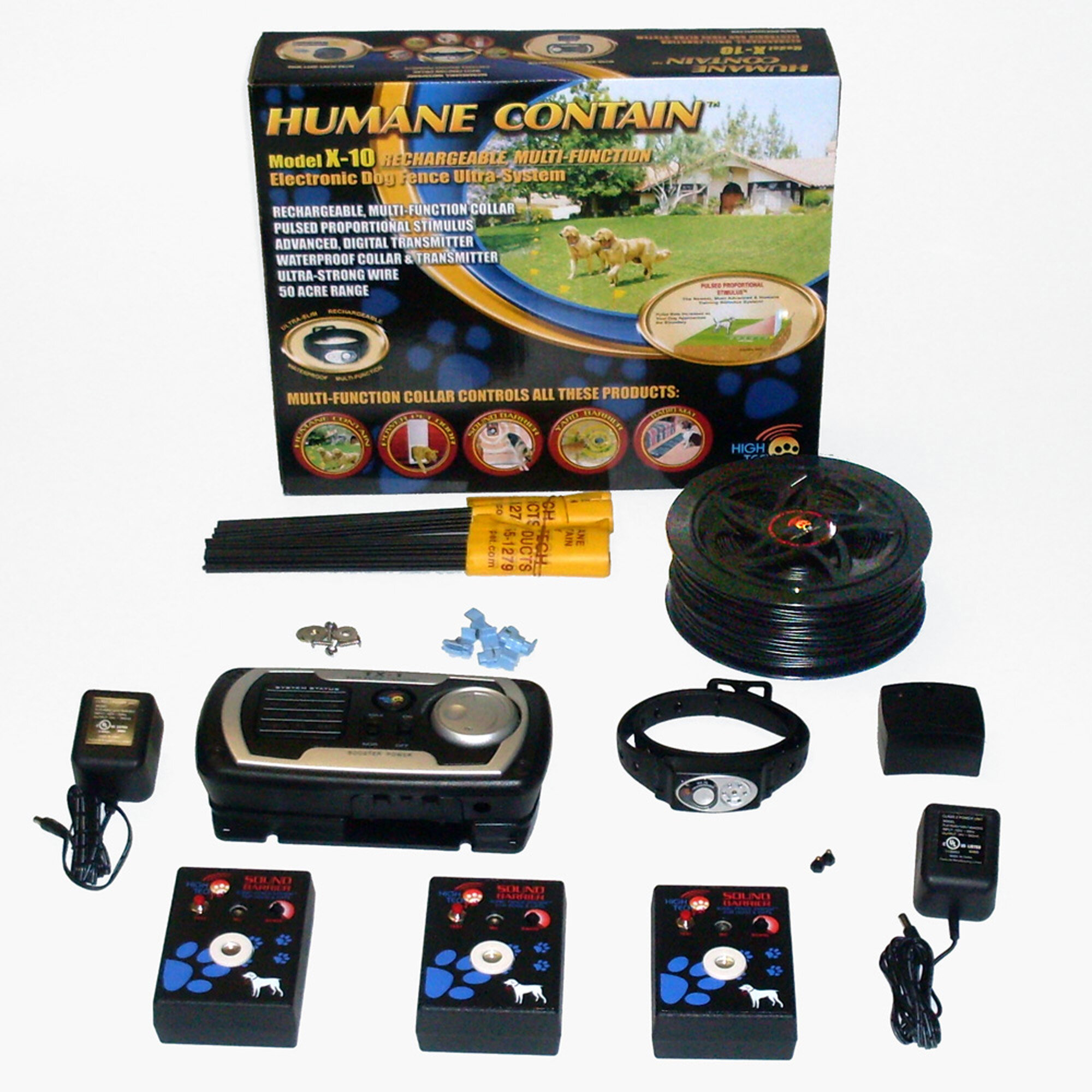High Tech Pet Indoor / Outdoor Rechargeable Multi Pet Electric Fence ...