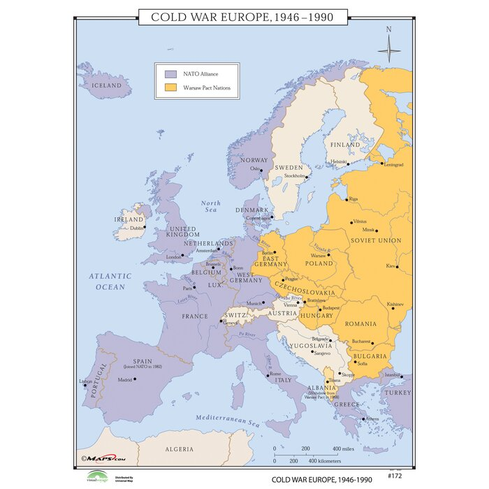 world history wall maps cold war europe