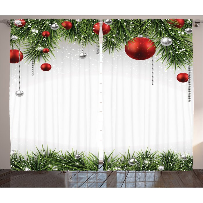 Christmas Decorations.Christmas Decorations Classical Christmas Ornaments And Baubles Pine Tree Twig Tinsel Print Graphic Print Text Semi Sheer Rod Pocket Curtain Panels
