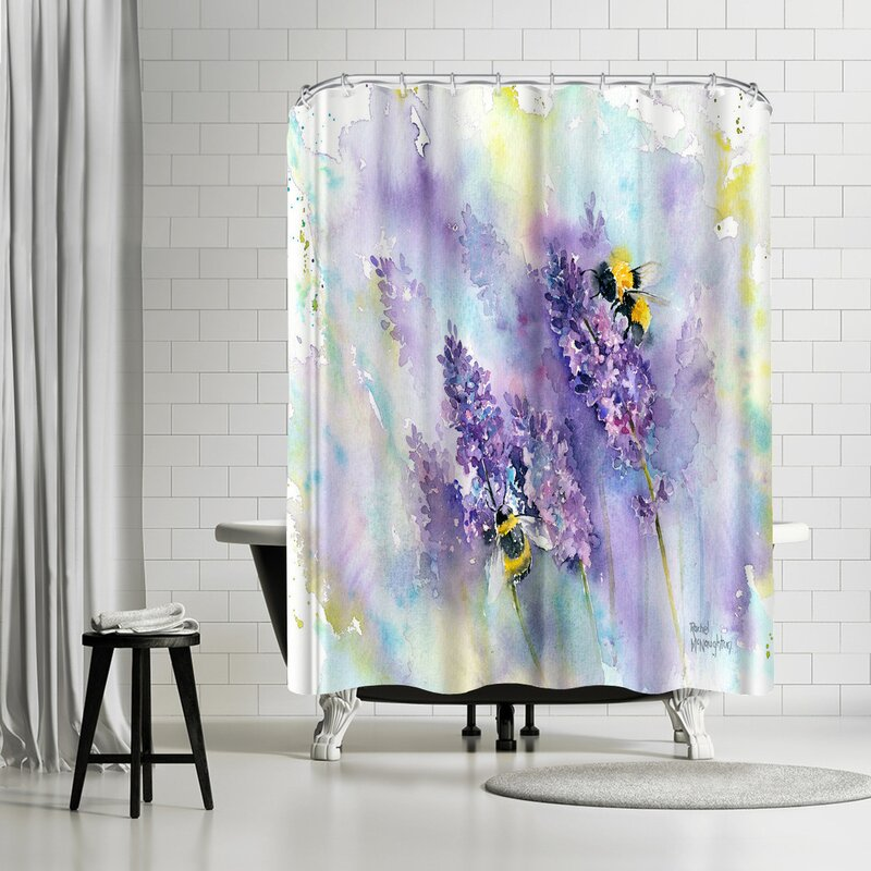 East Urban Home Rachel McNaughton Bees and Lavender Shower Curtain ...