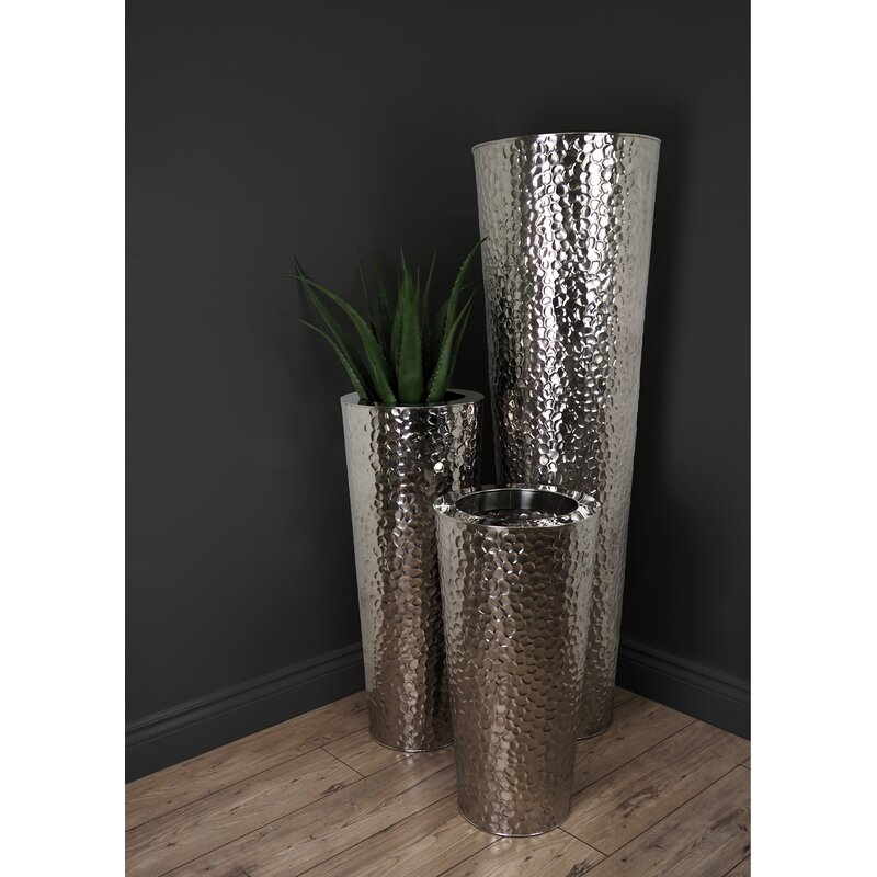 Orren Ellis Hammered Stainless Steel Floor Vase Wayfair