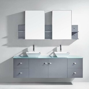 """Clarissa 72"""" Double Bathroom Vanity Set with Tempered Glass Top and Mirror"""