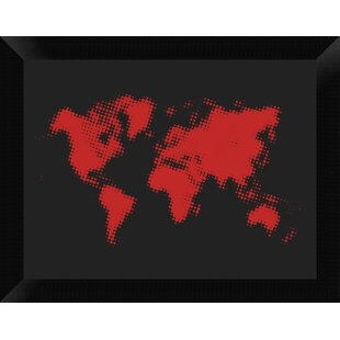 Rustic world map wall art youll love wayfair dotted red world map framed graphic art print on canvas gumiabroncs Images