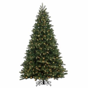 7.5' Green Spruce Artificial Christmas Tree with 800 LED Warm White Lights with Stand