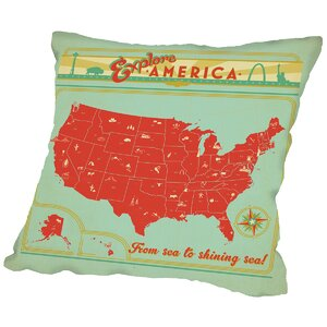 Map USA Throw Pillow