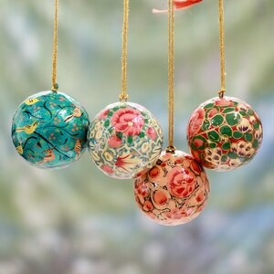 Syed Izaz Hussein Christmas 4 Piece Handmade Papier Mache Ornament Set