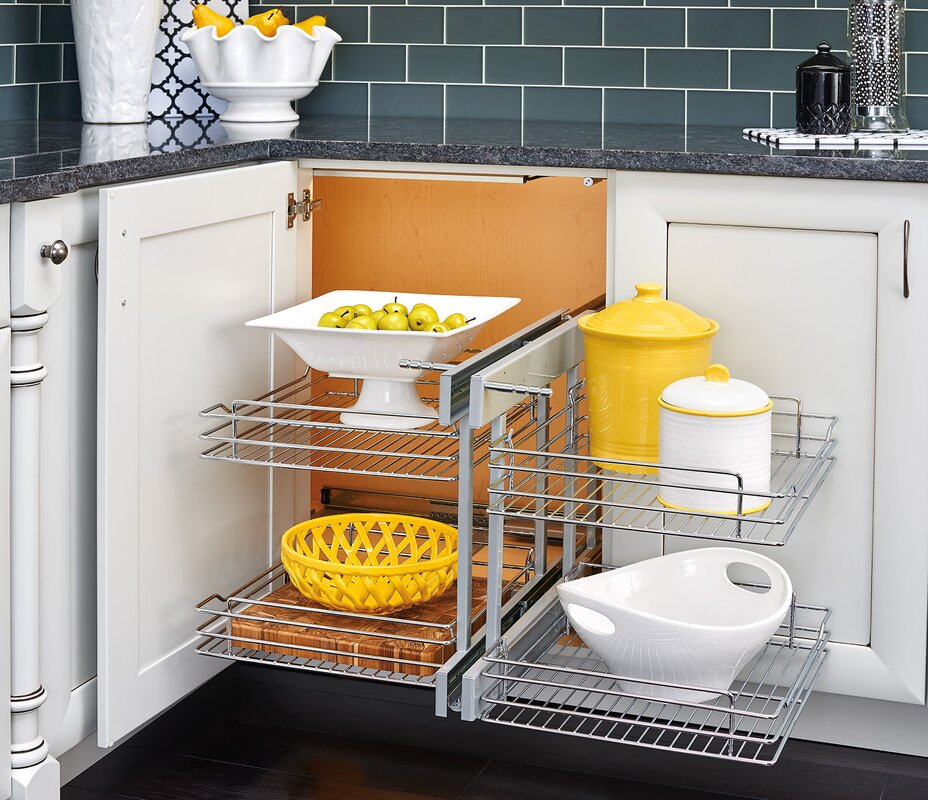 22 Birch Pull Out Shelf Kit One Shelf 1 4 Bottom: Blind Corner Cabinet Pull-Out Chrome 2-Tier Basket