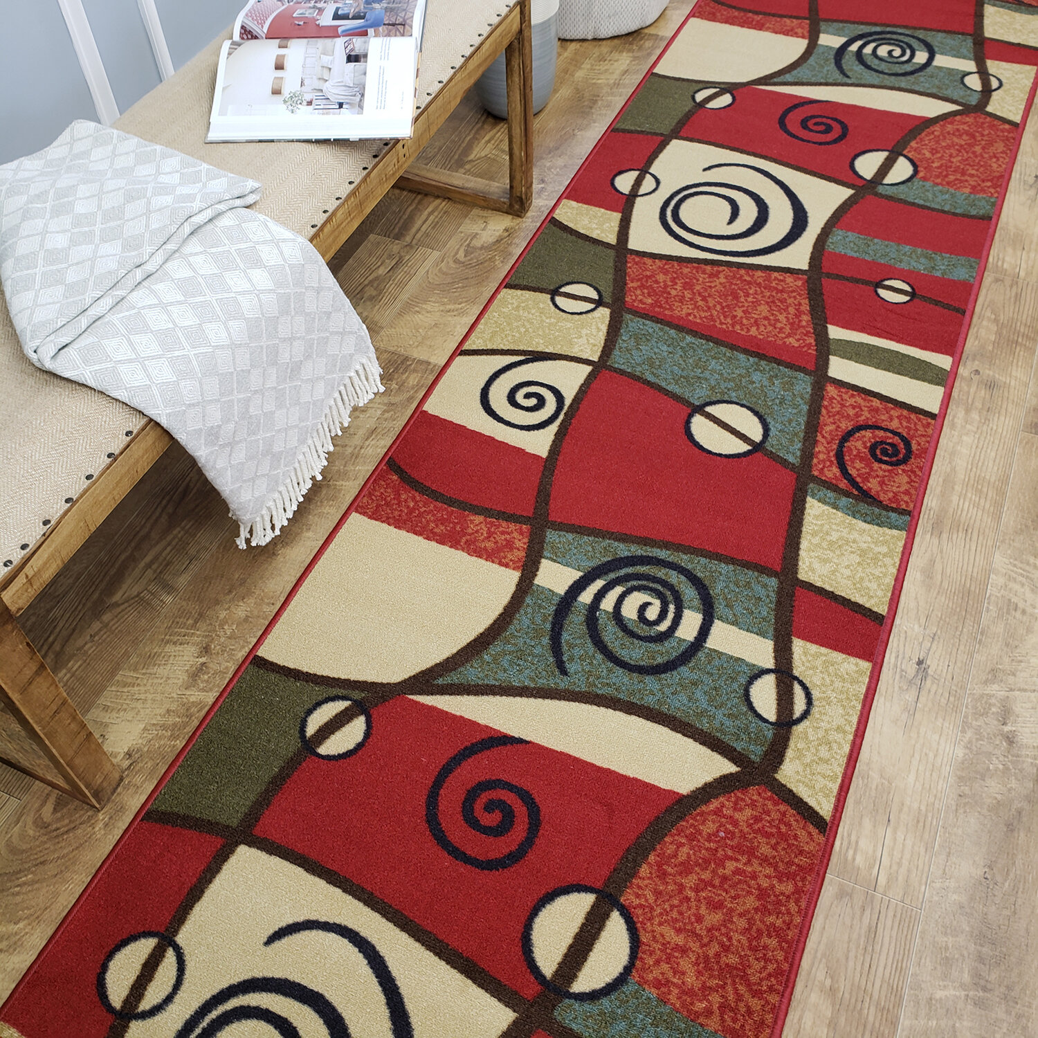 Andover Mills Beauchamp Square Red Green Area Rug Reviews Wayfair