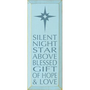 Silent Night Star Above Blessed Gift Of Hope & love Textual Art Plaque