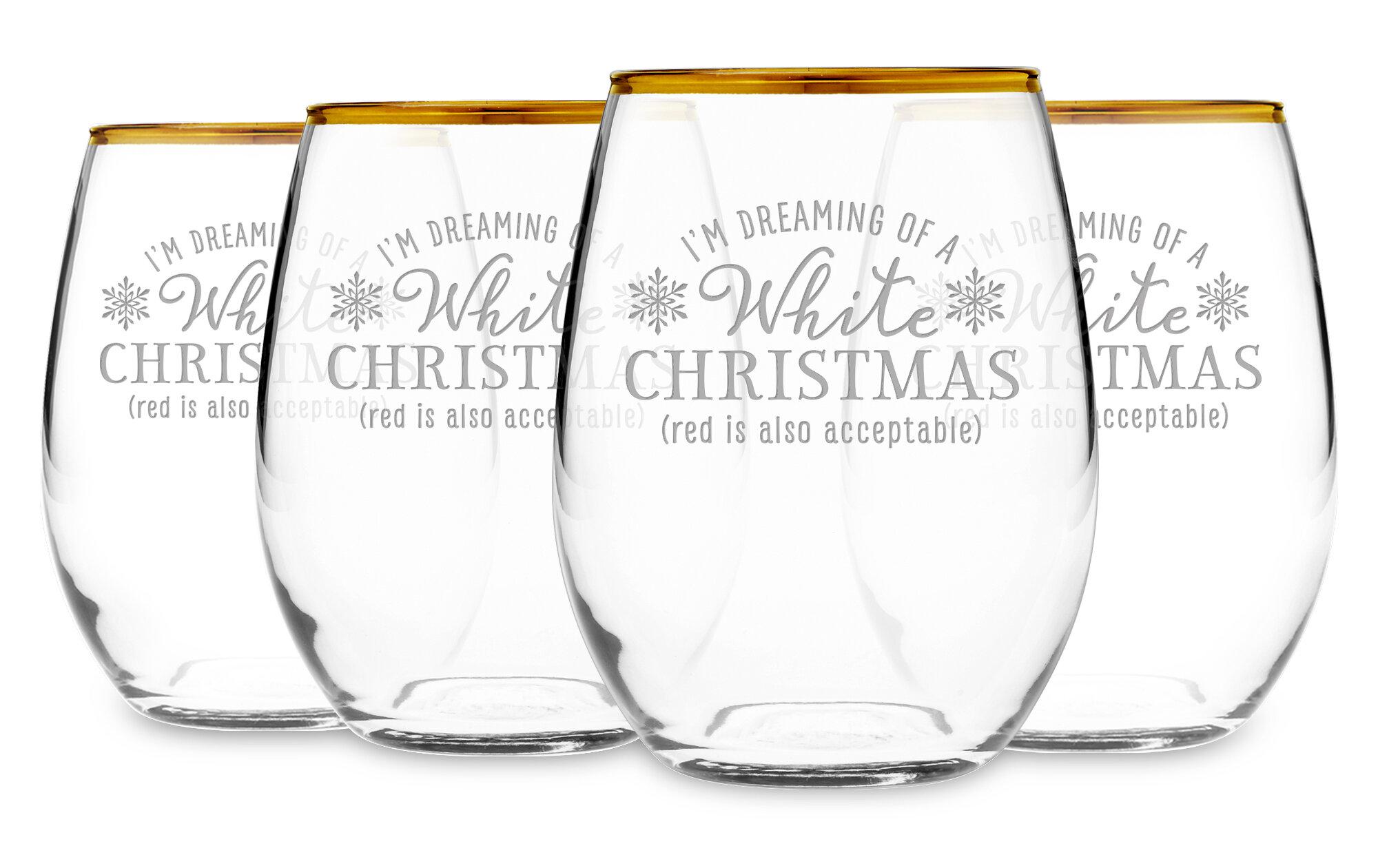 0f5ceda7b34 The Holiday Aisle Palmer White Christmas 21 oz. Stemless Wine Glass |  Wayfair
