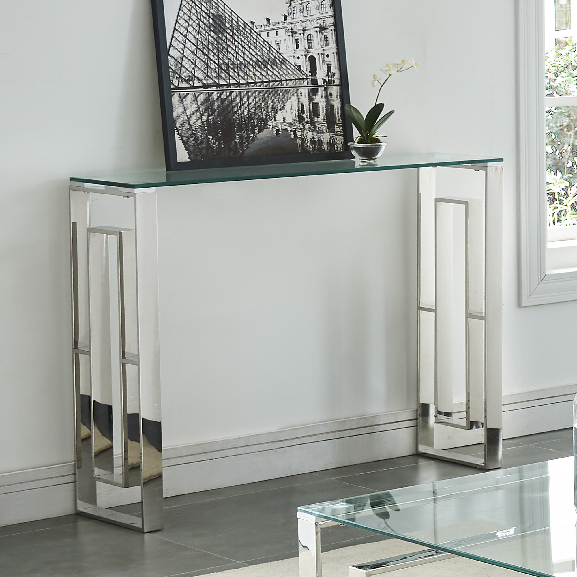 House of hampton menchaca stainless steel console table reviews wayfair