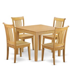 Cobleskill 5 Piece Breakfast Nook Solid Wood Dining Set
