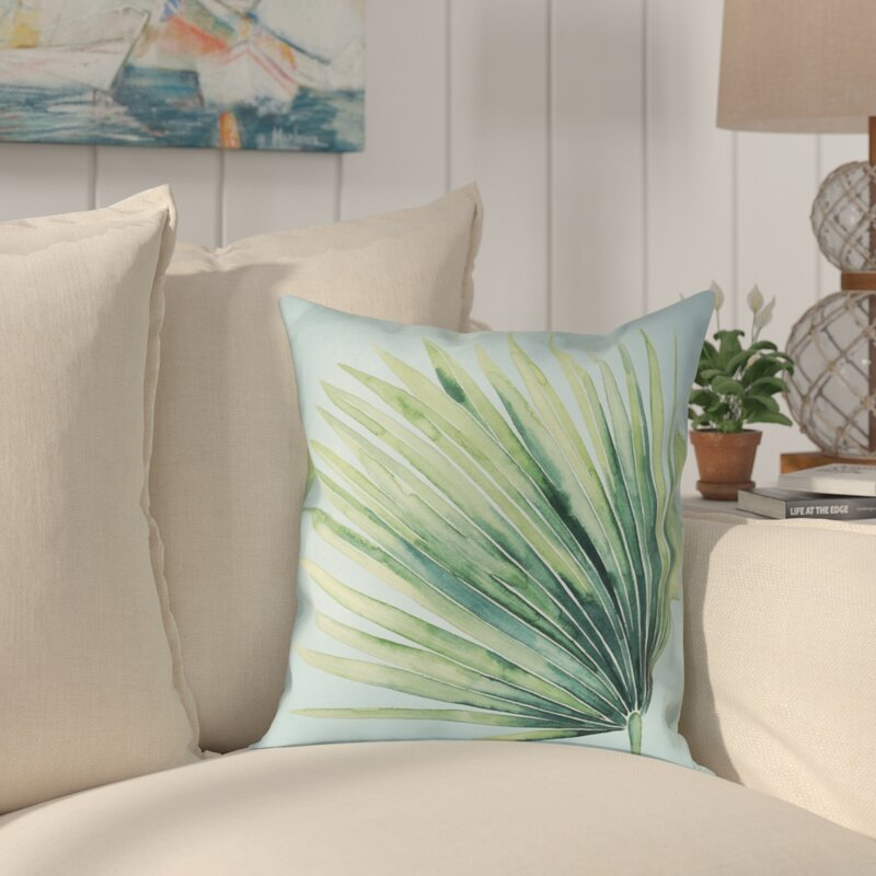 Bayou Breeze Elle Tropical Palm Tree Leaves Ii Outdoor Throw Pillow