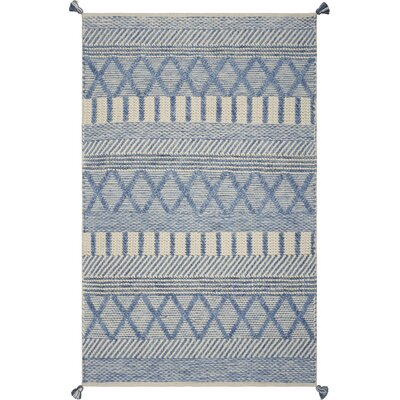 Bungalow Rose Armistead Handwoven Flatweave Ivory/Blue Area Rug Rug Size: Rectangle 5' x 7'