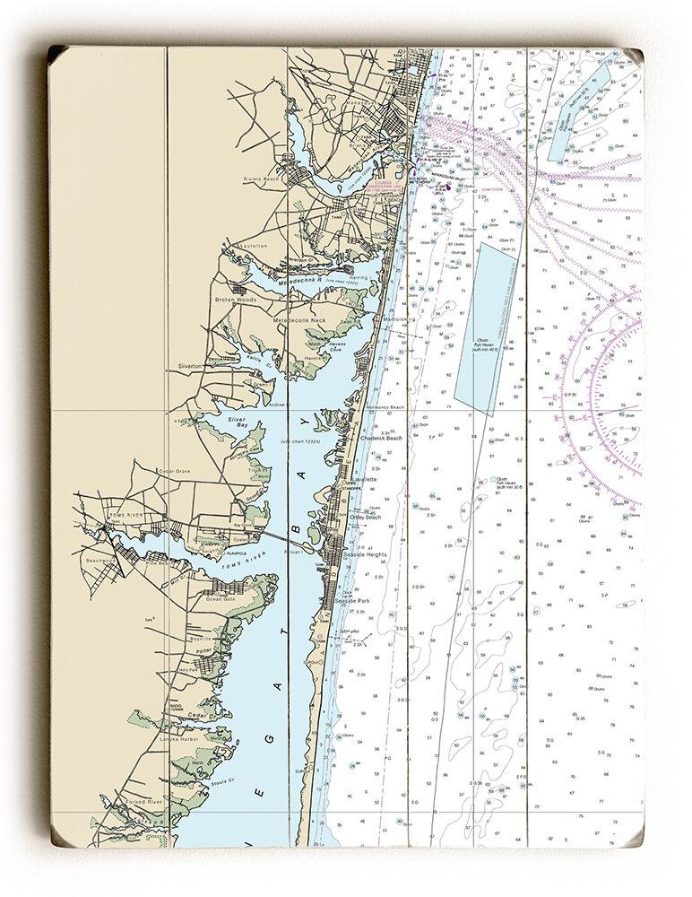 Longs Tides Nj Toms River Island Beach Manasquan Nautical Chart Sign Graphic Art Print On Wood Wayfair