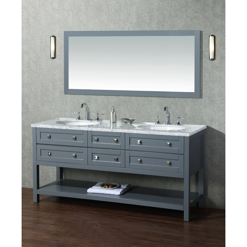 Brayden Studio Whaley 72 Double Modern Bathroom Vanity Set With Mirror Wayfair