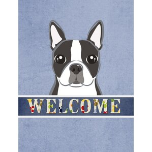 Good Welcome Boston Terrier Vertical Flag