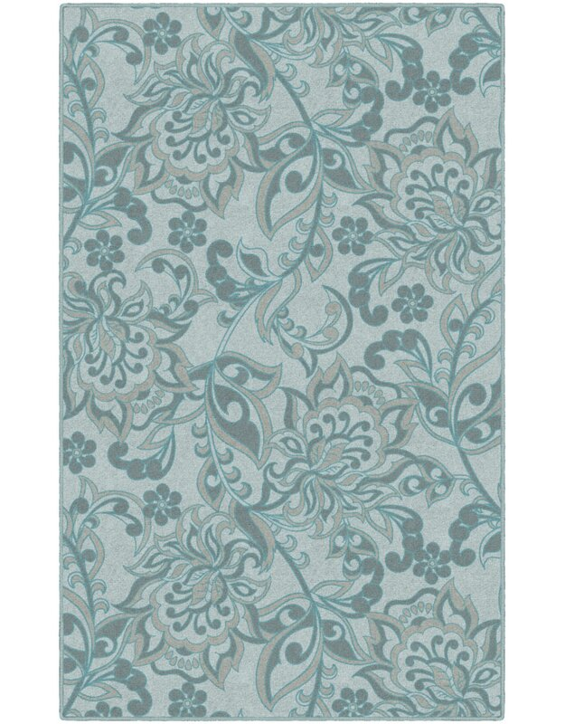 Winston Porter Unique Traditional Floral Blue Area Rug, Size: Rectangle 76 x 10