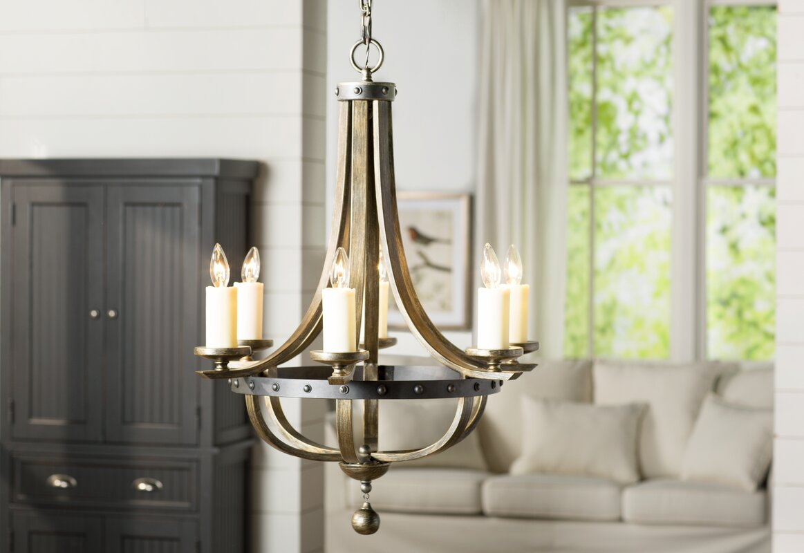 August grove betty jo 6 light candle style chandelier reviews betty jo 6 light candle style chandelier arubaitofo Image collections