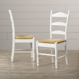 Gennevilliers Ladder Back Solid Wood Dining Chair (Set Of 2)