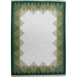 Ronnie Handmade Kilim Wool Green Rug by Brick & Barrow