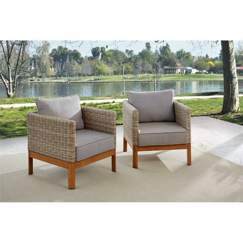 Greyleigh Nanette Patio Lounge Chairs With Cushions Wayfair