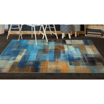 Wrought Studio Nannette Abstract Square Turkish Blue Area