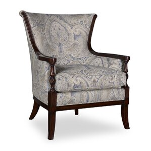 Marylhurst Linen Carved Wood Armchair by Can..