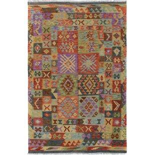 Rosalina Handmade Kilim Wool Purple/Rust Area Rug