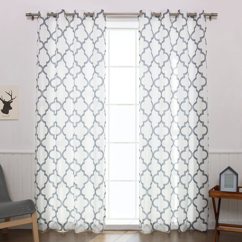 Arrey Basketweave Geometric Semi Sheer Grommet Curtain Panel (Set Of 2)