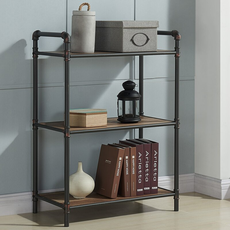 17 Stories 3 Tier Metal Pipe Etagere Bookcase & Reviews | Wayfair