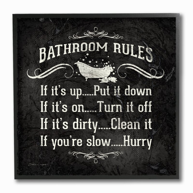 Bathroom Rules winston porter 'bathroom rules bw icon' textual art on canvas
