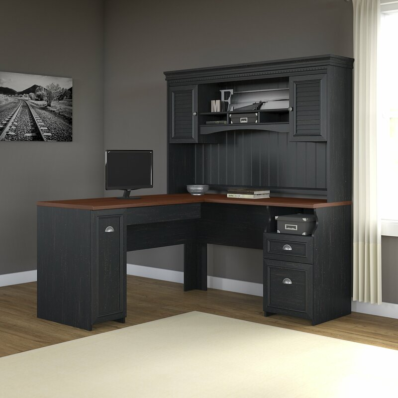oakridge lshaped executive drawer desk with hutch